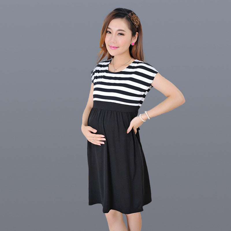 Summer Maternity Clothes Maternity Dress Soft Striped Patchwork Short Beal Daily Deals For Moms
