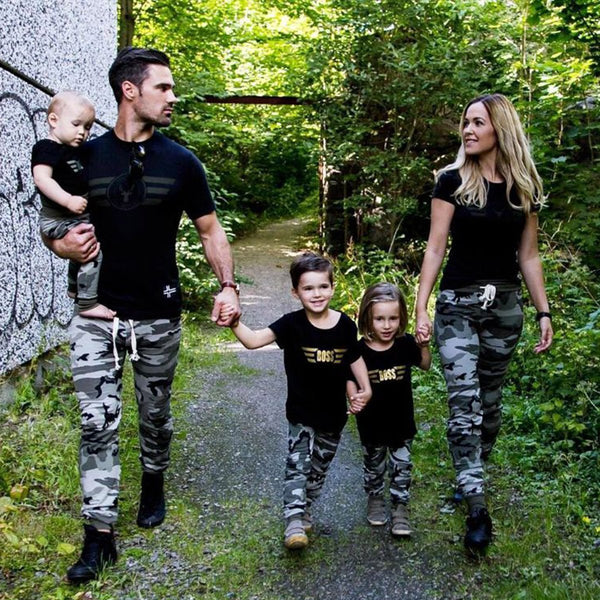 Summer Mother Father Daughter Son Baby Clothes Sets Family Pilot Short T Shirts +Camouflage Pants 2pcs Family Matching Fits