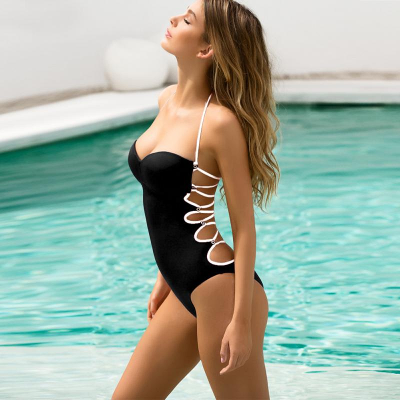 76e35e17a3a Summer One Piece bikini Swimsuit Sexy Halter Swimwear Bathing Suit Wom –  Beal   Daily Deals For Moms