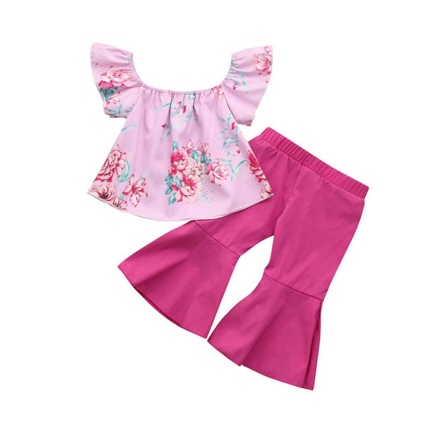 Summer Toddler Baby Girls Outfits Clothes 2Pcs Toddler Baby Kids Girls Floral Off Shoulder Tops+Pants Set Outfits Clothes