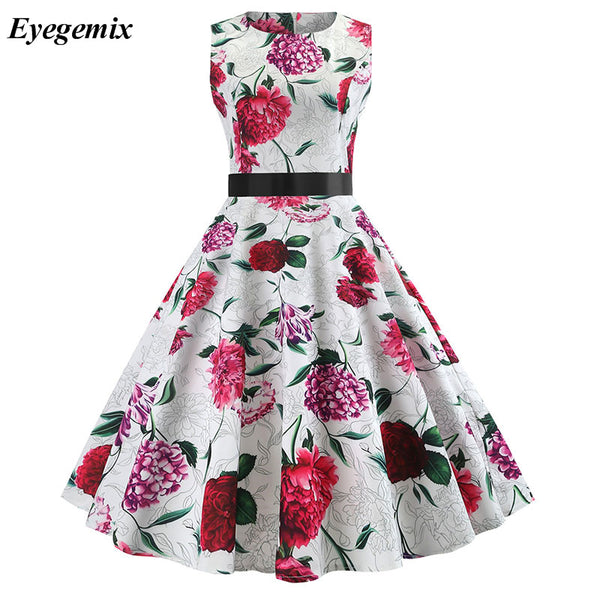 Summer Vintage Dress Women Sexy 50s 60s Floral Print Sleeveless Retro Swing Dresses Casual A-Line