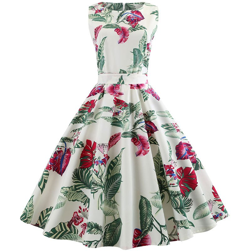Summer Women Dress Plus Size Casual Midi Work Office Party Sundres  Sleeveless Floral Print