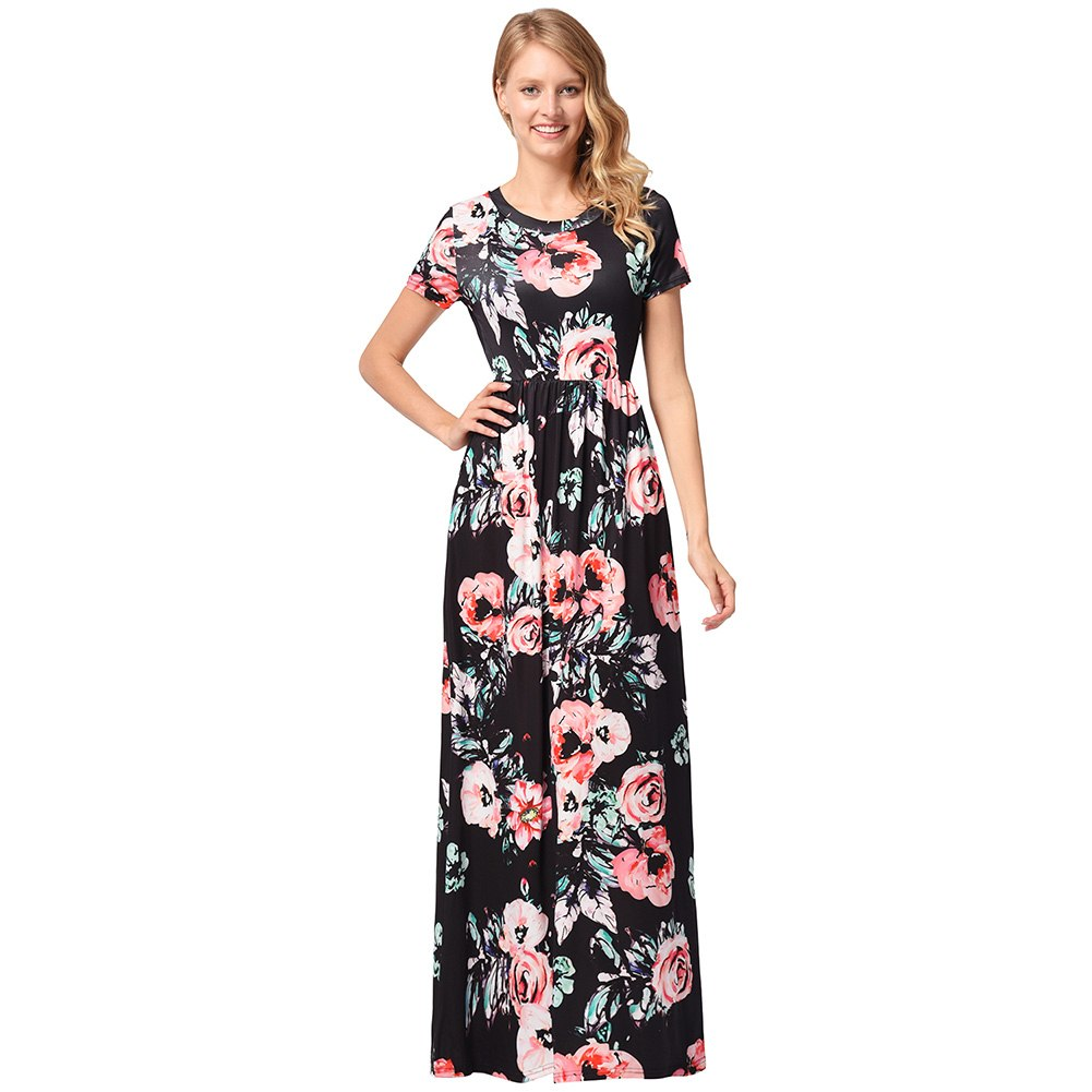 1a64ea521ff3 Summer Women Long Dress Floral Printed Short Sleeve Pockets Lady ...