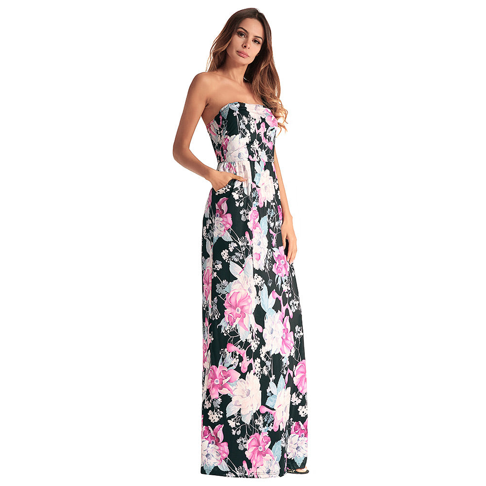 4c337355c87 Summer Women Sexy Long Dress Strapless Floral Printed Pockets Party ...