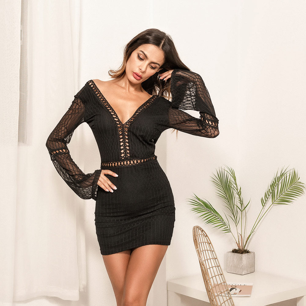 a2a1b4322632 Summer Women Sexy Mini Dress V Neck Long Sleeve Backless Hollow Out ...