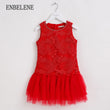 Summer baby girls princess lace dresses for children flower embroidery polyester red poplin kids tutu puff dress for party FE051