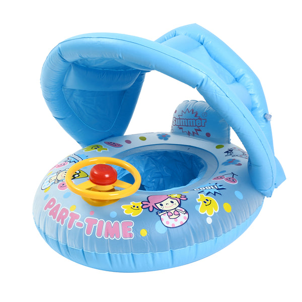 Sunshade Baby Child Infant Swim Accessories Float Inflatable Thicken Adjustable Seat Boat Swimming Ring Pool Steering Wheel