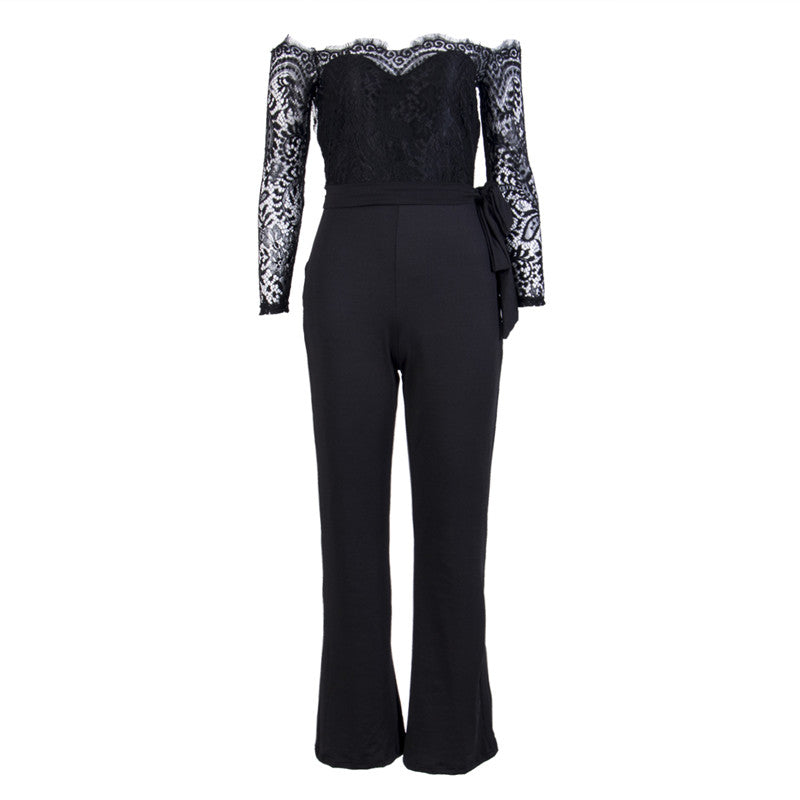 386121066bd6 Super Fashion Spring Summer Jumpsuits Women High Quality Lace ...