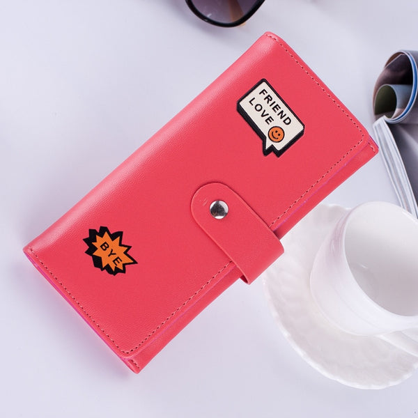 Suqi Women Long Pu Wallet Fashion And Creative Lady's Smile Face Coin Purse For Teenage