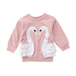 Swan Child Kids Baby Girls Clothes Cotton Sweatshirts Long Sleeve Lace Top Blouse Clothes