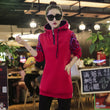 Sweatshirt Female Print Jacket New Velvet Autumn Winter Cotton Stand Collar Hooded Coat Women Pullover Sweatshirts Hoodies A927