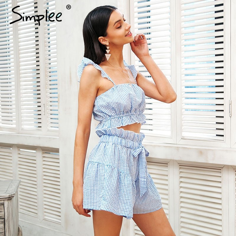 d91f286f0c7 Sweet ruffle strap two piece jumpsuit romper Casual elastic waist plaid  playsuit women Sexy drawstring summer jumpsuit – Beal