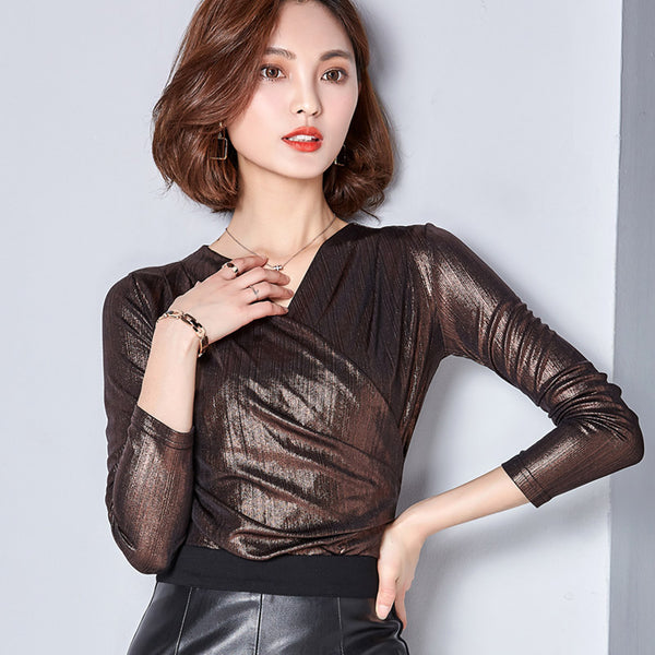 TOTNWANG 2017 Spring Autumn New Casual Gold Women Blouse Ladies Solid Sexy V-neck Slim Blouses Long Sleeve Shirt Plus Size CS221