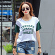 TOTNWANG  Tee Tops 2017 Summer New Women Print Letter Round Neck Cotton Short Sleeve T-Shirt Loose Fashion Girl Top CS390