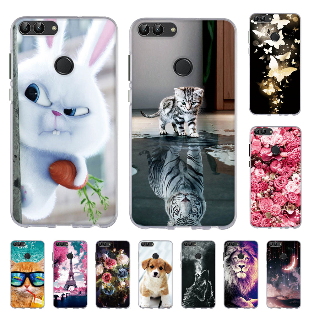 online store 8a503 7faf1 TPU Case For Huawei P smart Enjoy 7S Silicone Phone Cover For Huawei Enjoy  7s Print Painted Back Shells For Huawei P smart Bags