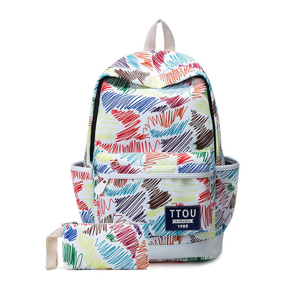TTOU Printing Backpack Flowers Canvas Backpack Student School Bag Graffiti Backpack for Teenage