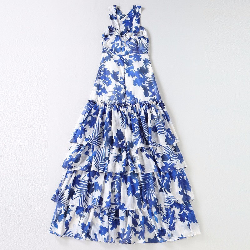 Twotwinstyle Halter Dress Summer Print Off Shoulder Ruffles