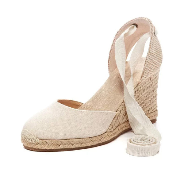 Teahoo Women Ankle Strap Espadrilles Wedge Sandals 2017 Summer Canvas Platform Wedges Fashion Lace