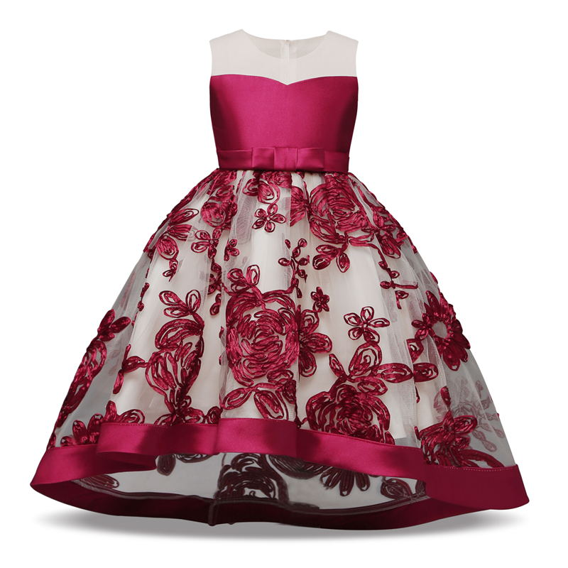 d08229ca602ce Teen Dresses For Girls Flower Girls Wedding Party Costume Clasical Red  Embroidery Dresses Party