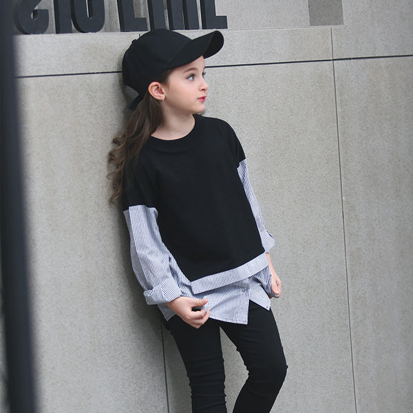 Teenage Girls' T-shirt Pullover Casual Spring Autumn Tee with Stripe Black White