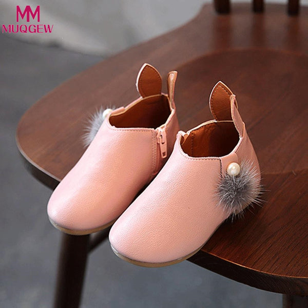 Toddler Baby Girls Cute Rabbit Ears Ball Sneaker Boots Zipper Casual Shoes Rubber Boots Baby