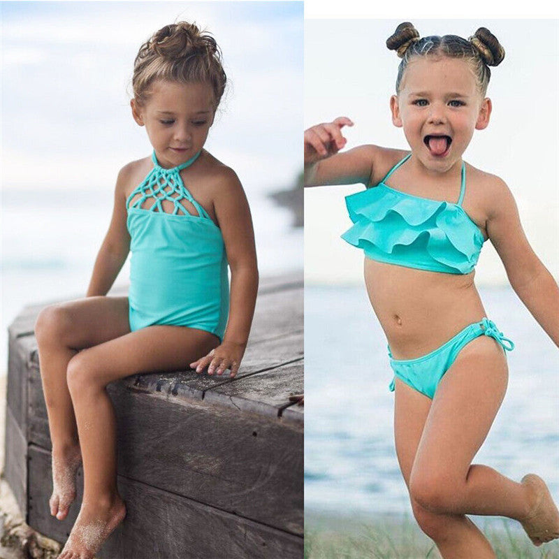f2fd8a167f Toddler Kids Baby Girls Bikini Sets One-pieces Monokini Swimwear Swimsuit  Bathing Suit Ruffles Lace-up Hollow Out Beachwear 2-7T – Beal | Daily Deals  For ...