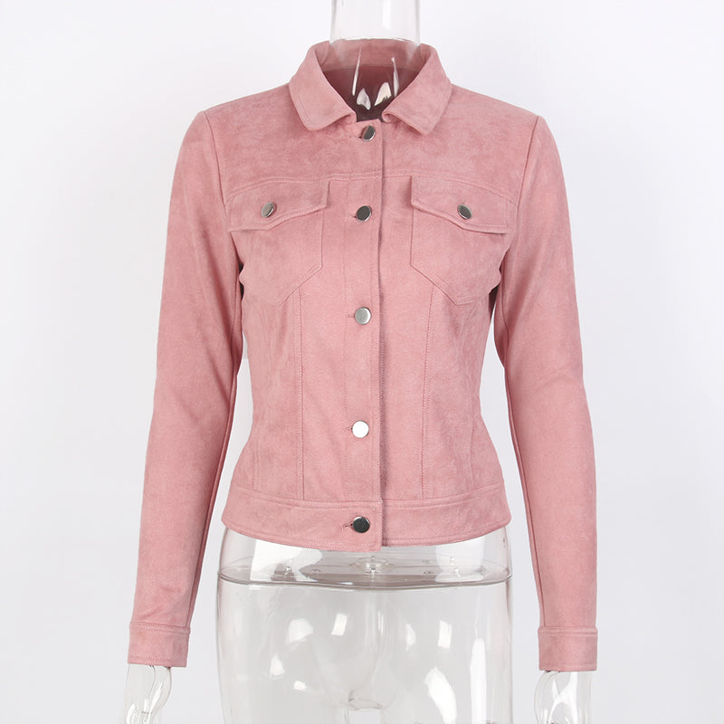 06fb2652c Toplook Pink Suede Jackets Women 2017 New Autumn Winter Long Sleeve Pockets  Coat Single-breasted Fashion Jacket For Ladies