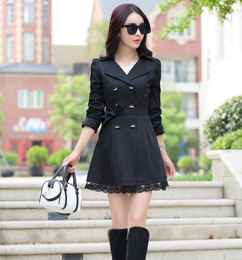 030821a01e Trench Coat For Women 2018 Spring Coat Double Breasted Lace Slim ...
