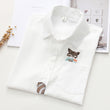 Turn-down Collar Women's Shirt Kawaii Squirrel Embroidered Womens Tops And Blouses Shirt Summer Short Sleeve Linen Loose blouses