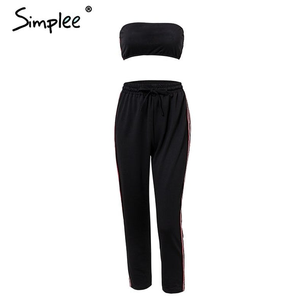 Two piece tube top playsuit Casual waist tie elastic cotton long pants streetwear summer