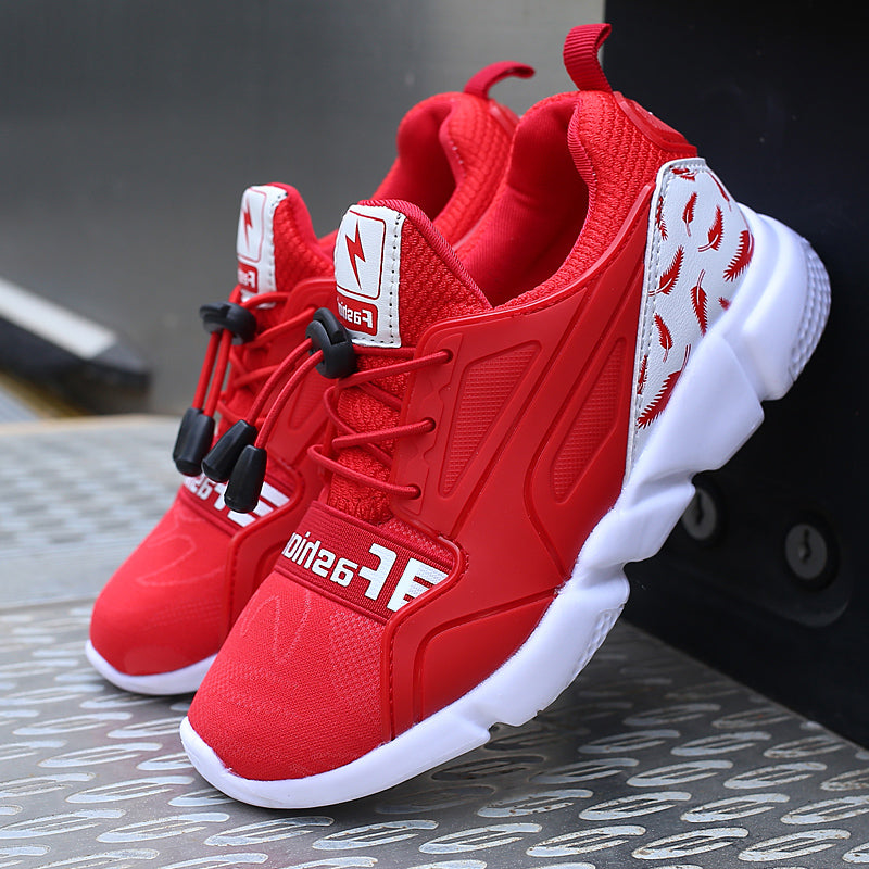 ULKNN Red Sport Kids Sneakers For Children Shoes Boys Casual Shoes Girls  Trainer Air Mesh Breathable Fly Knit Elastic Band Shoe – Beal  a3ed1554cf1