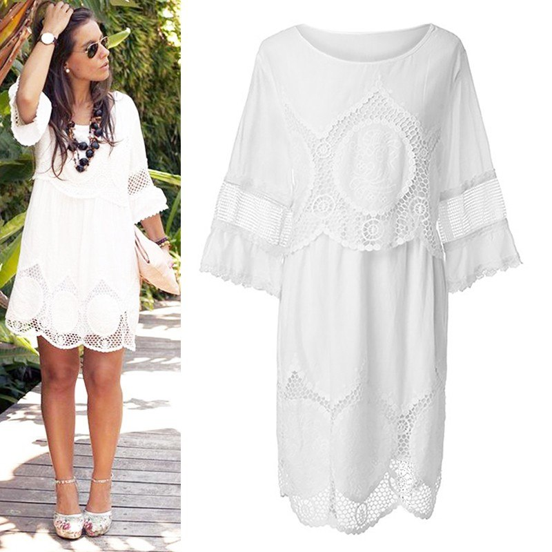 Ukraine Elegant White Lace Dress Women Plus Size hollow out short ...