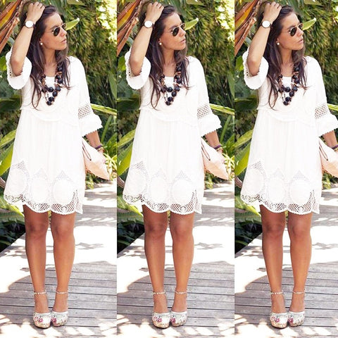 Ukraine Elegant White Lace Dress Women Plus Size hollow out short sleeve Summer dresses O Neck