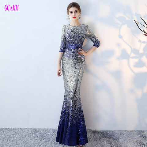 Unique Multi Colors Mermaid Evening Dresses 2018 Sexy Long Evening Party Dress O-Neck Sequin Sashes