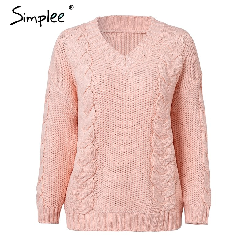eaea09f1768b V neck Twist knitted pullover sweater Casual long sleeve sweater 2018  Autumn winter jumpers outerwear pullover women – Beal