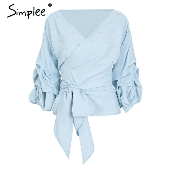 V neck puff sleeve pearl blouse shirt Elegant bow blouse women Sky blue summer wrap casual
