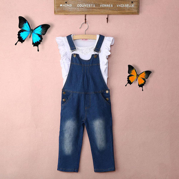 Vest + Jeans Girl Summer Clothes Set Dungarees Vest Tops White Overalls Denim Sleeveless Outfits