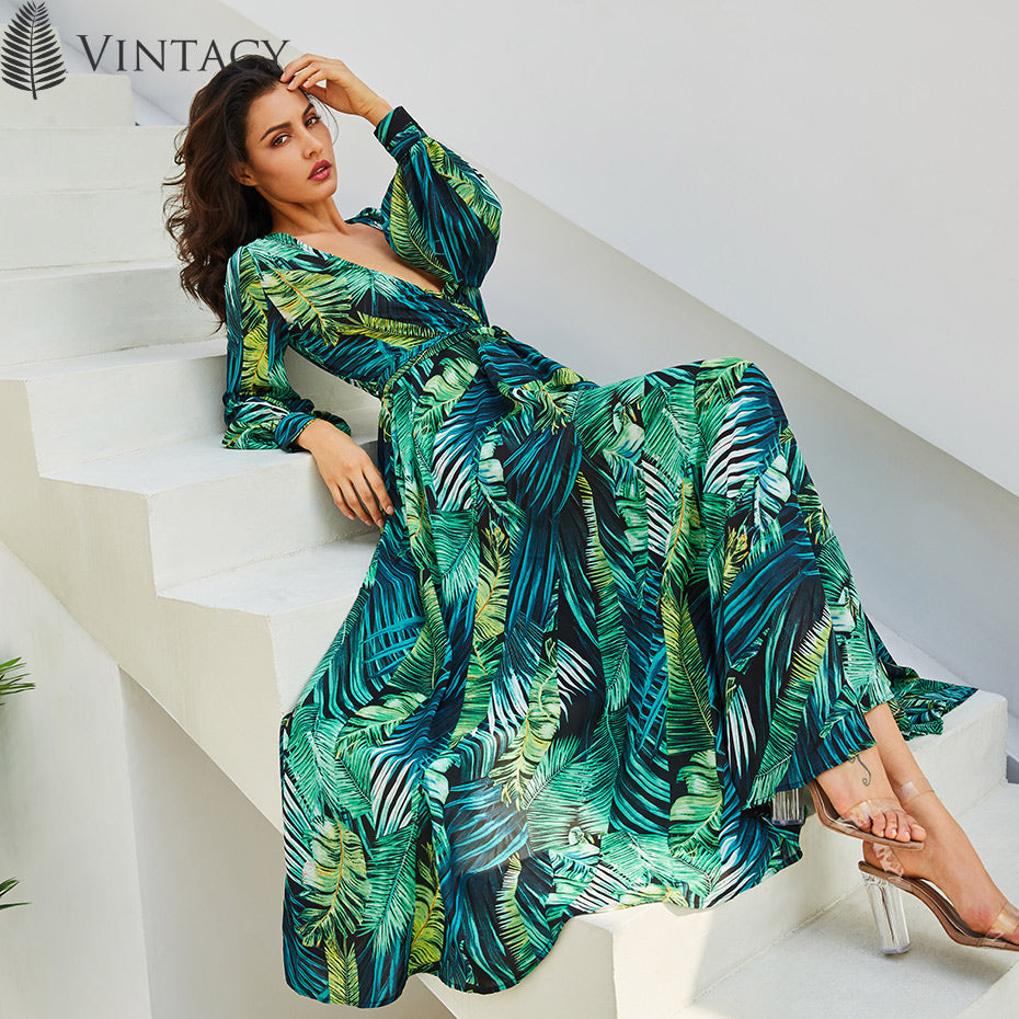 b46a11be46b8 Vintacy Long Sleeve Dress Green Tropical Beach Vintage Maxi Dresses Boho  Casual V Neck Belt Lace Up Tunic Draped Plus Size Dress – Beal