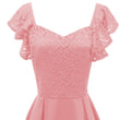 Vintage Pink Lace Sexy Dresses Women 2018 New Cap Sleeve Patchwork Zipper Elastic Ladylike Prom