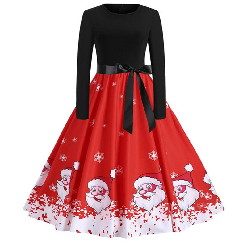 5c99c738fb4 Vintage Print Women  39 s Christmas Party Dress Elegant Female Long ...