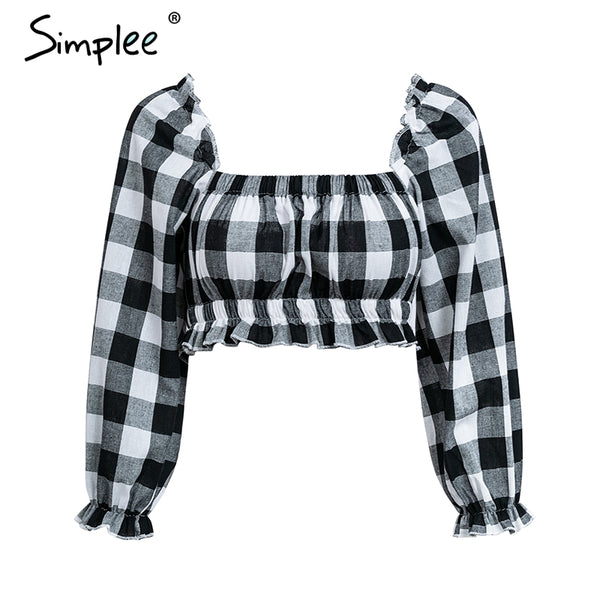 Vintage plaid long sleeve crop top women Ruffle square collar sexy blouse shirt 2018 Casual