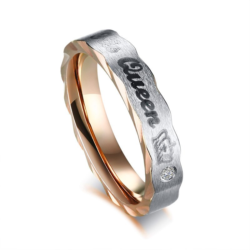 Vnox Crown His Queen Her King Wedding Rings For Women Men Stainless