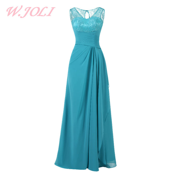 W.JOLI Long Evening Dress Elegant Lace Pleat Bride Banquet Floor-length Prom Gown Sky Blue Vintage