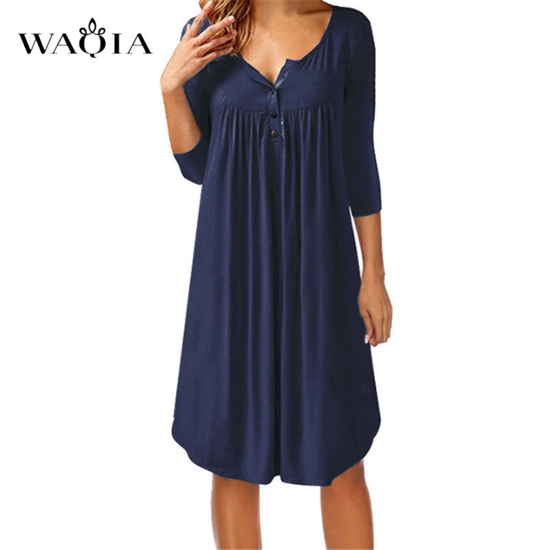 209e69cc18a WAQIA Summer Dress New Dresses 2018 Fashion Women Casual Loose Plus ...