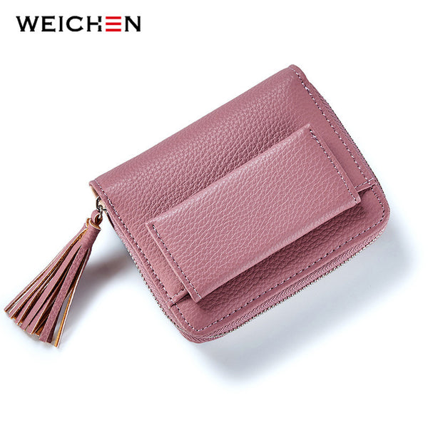 WEICHEN Brand Designer Pink Tassel Women Wallets Card Holder Zipper Girl Coin Purse Ladies Small