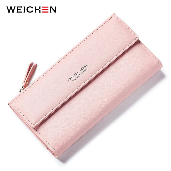 WEICHEN Fashion Korean Style Long Women Wallets Phone Coin Pocket Credit Card Zipper Solid PU Leather Purse Woman Money Bag