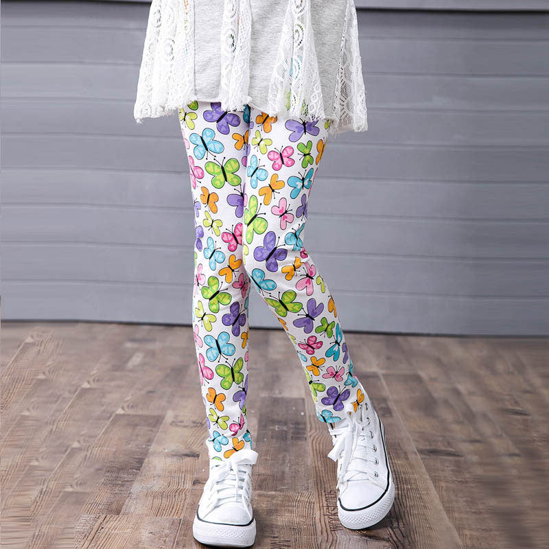 f48191ad740f3 WEIXINBUY Kids Girls Leggings Pants Flowers Printed Stretch Pants ...