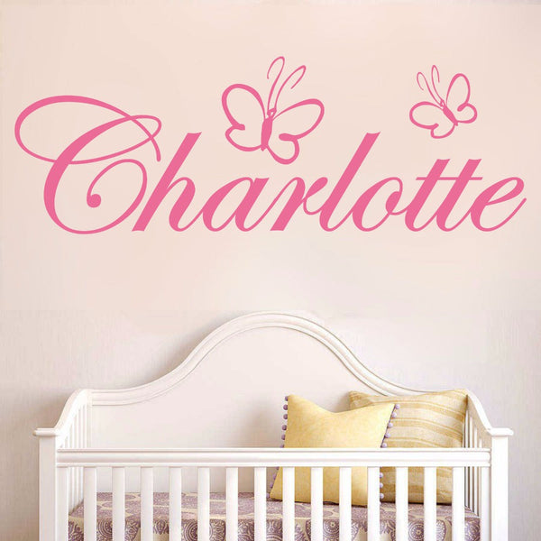 WXDUUZ Custom name butterfly girls bedroom home decor Wall sticker wall decals Art Home Decor Nursery Kids Room Wall Decor P15