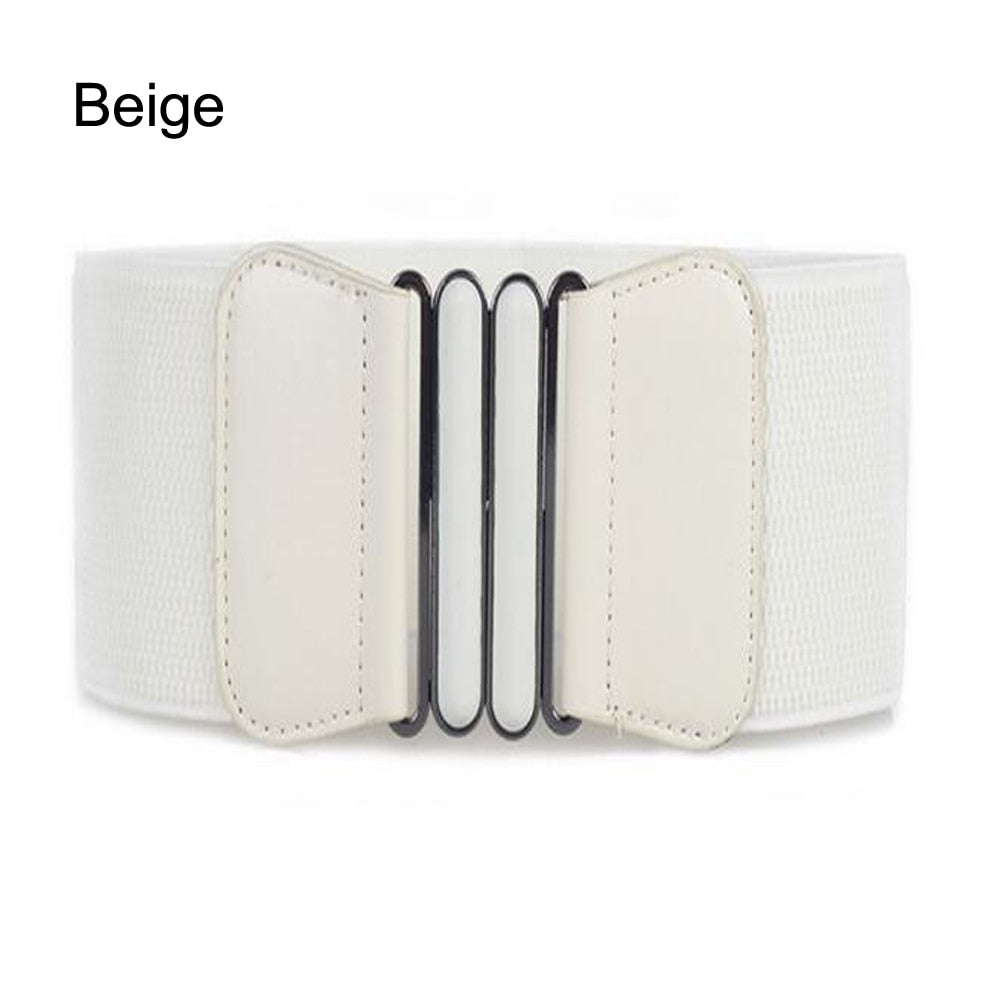 14b2146ca Waist Belts Women Skinny Elastic Ceinture Fashion Lady Stretch Elastic  Leather Wide Belt Dress