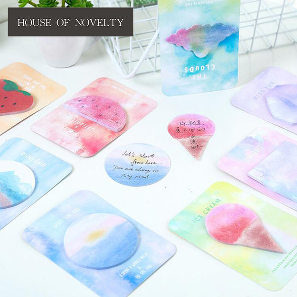 Watercolor Geometric Triangle Polygon Memo Pad Sticky Notes Escolar Papelaria School Supply Bookmark Label